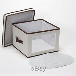 Storage Chest Box Bin Kitchen 12 Set Dinner Plates Bowls Dishes China Home