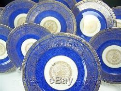 Superb Cauldon England Dragon Gold & Cobaltblue Dinner Plate Set Of 12 Plates