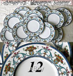Superb Ornate Florentine Style 12pc Vintage MINTON Dinner Plate Set, circa 1923