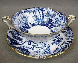 Superb blue Royal Crown Derby MIKADO Dinner Service / Set for 8. Plates cups etc
