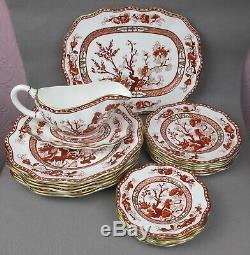 Superb red COALPORT Indian Tree Coral Dinner Service / Set for 6. Plates etc