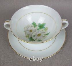 Superb vintage R. C. Noritake White Rose Dinner Service Set for 6 plates cups