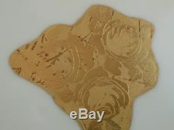THOMAS BAVARIA Wide Gold Band Encrusted Dinner Plates Roses Set of 6