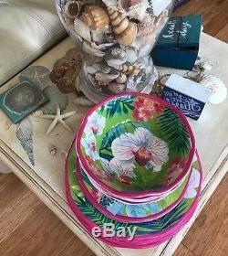 TOMMY BAHAMA12 Piece Set Dinner, Salad Plates & BowlsMELAMINEPink Orchid Palm