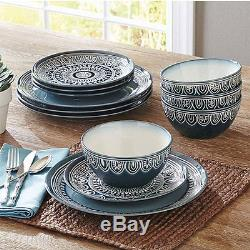 Teal Medallion Dinnerware Set Service for 8 Dinner Dishes Plates Bowls 24-piece