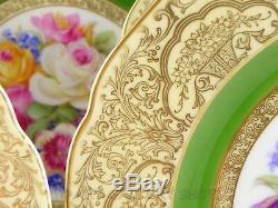 Tirschenreuth Bavaria 11 DINNER PLATES FLOWERS CENTER & GOLD GILDED Set of 7