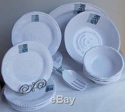 Tommy Bahama White Melamine Dinnerware Set Dinner Salad Plates Bowls Platter