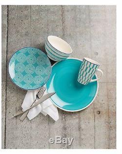 Turquoise 16 Piece Dinnerware Set Serves 4 Dinner Plates Bowls Earthware Home