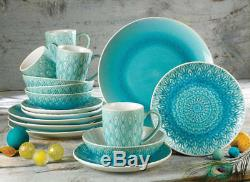 Turquoise Peacock 16 Piece Dinnerware Set Serves 4 Dinner Plates Bowls Mugs