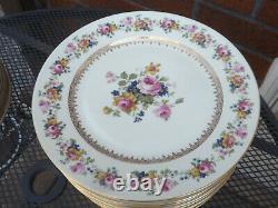 V Czech Czechoslovakia Set of 12 Dinner Plates Dresden Style Floral