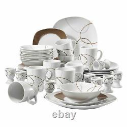 VEWEET 40-Piece Porcelain Dinnerware Set Plates Bowls Dinner Kitchen Tableware