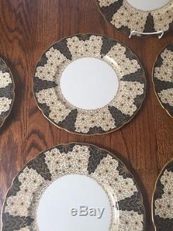 VINTAGE Fine Set of 12 LENOX BLACK STARR & FROST DINNER PLATES