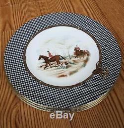 VTG POLO RALPH LAUREN Balmoral Hunt WEDGWOOD Porcelain Dinner Plate Set 1989