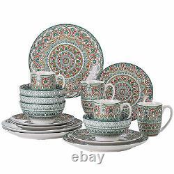 Vancasso Mandala 16-Piece Dinnerware Set Green Round Plates Bowls Mugs Porcelain