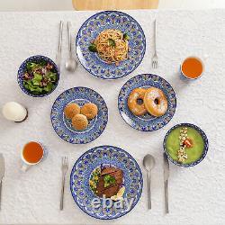 Vancasso Mandala Dinnerware Set 16-Piece Blue Porcelain Plates Bowls Mugs Round
