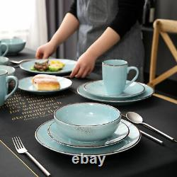 Vancasso Navia Dinnerware Set Light Blue Round Plates Bowls Mugs Set Stoneware