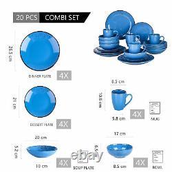 Vancasso Navia Round Dinnerware Set Plates Bowls Mugs Set Stoneware Dark Blue