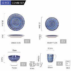 Vancasso Series Mandala 32-Piece Porcelain Dinnerware Set Dinner Kitchen Dishes