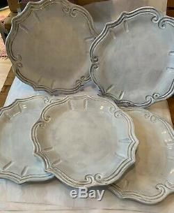 Vietri Incanto White Baroque 12 Dinner Plates Set Of 5 NEW