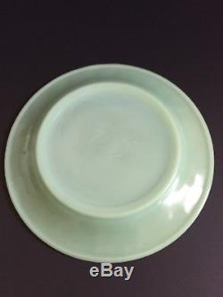 Vintage 1940s Fire King Jadeite Restaurant Ware Green 9 Dinner Plates Set Of 6