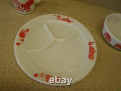 Vintage 3pcs PYREX CIRCUS Child's Baby Dinner Set MUG PLATE BOWL Milk Glass Red