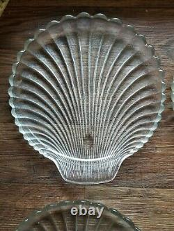 Vintage Anchor Hocking Clam Shell Clear Textured Glass Dinner Plates Set of 8