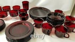 Vintage Arcoroc France Ruby Red Glass Dishes Dinner Set 61 Piece Plates Bowl Cup