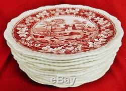 Vintage Copeland Spode England Pink Tower Old Mark Set of 12 Dinner Plates