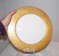 Vintage Czechoslovakia Wide Ornate Gold Rim Dinner Plates 10 3/4 Set Of Five