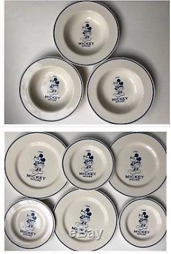 Vintage Disney Mickey Mouse set of 3 dinner plates+ 3 soup bowls+3 salad plates