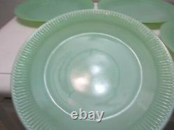 Vintage Fire King Glass Jane Ray Dinner Plates Set of 4 Jade-ite Green 9