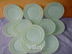 Vintage Fire-king Set Of 12 10 Dinner Plates Jadeite Swirl Pattern All Ex