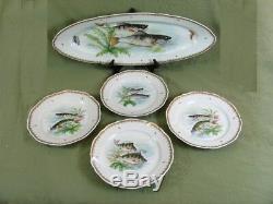 Vintage Hand Painted France Fish Designs Set 4 Dinner Plates & 24 Long Platter