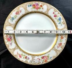Vintage Limoges Dinner Plates Set Of 6 Wm. Guerin & Co. Floral and Gold