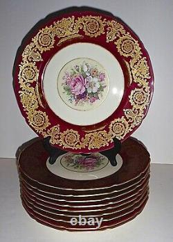 Vintage Rosenthal Pattern 6727 Maroon 10 1/2 Dinner/Placeplates Set of 10