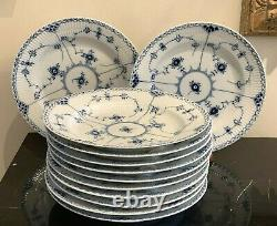 Vintage Royal Copenhagen Blue Fluted Half Lace #571 Dinner Plates Set of 12