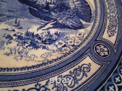 Vintage Royal Doulton Thanksgiving Turkeys Set of 4 Dinner Plates Flow Blue A
