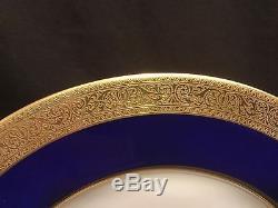 Vintage Set 12 Lenox Westchester Gold Encrusted Cobalt Blue Dinner Plates M139 K