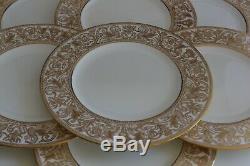 Vintage Set 12 Wedgwood China Florentine Gold W4219 Dinner Plates