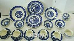Vintage Set 22 pc Blue Willow Dinner Wares Plates, Cups Royal China Underglaze