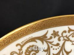 Vintage Set Of 8 Czech 10&3/4 Dinner Plates Gold Encrusted & Gold Rim Designs