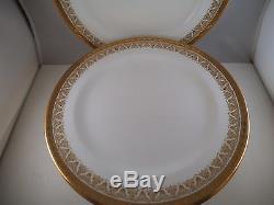 Vintage Set of 6 Royal Cauldon England Dinner Plates Gold Encrusted Rim Flower B