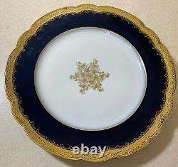 Vintage Set of 8 Limoges France Cobalt Blue & Gold Dinner Plate M. Redon