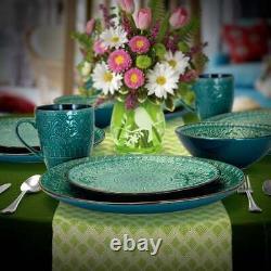 Vintage Teal Dinnerware Set Dinner Dishes Kitchen Plates Embossed Rustic 16 Pcs