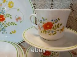 Vtg Corelle Wildflower Meadow 22 Pc Dinnerware Set plate mug cream sugar