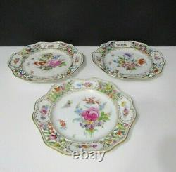 Vtg Dresden Hand Painted Floral Reticulated Plate 8 5/8 Set of 3 Bavaria LOVELY
