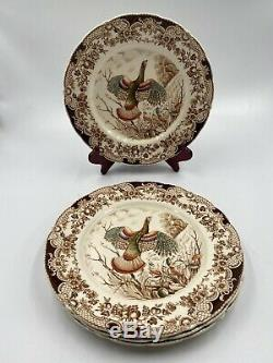 WINDSOR WARE WILD TURKEYS set of four 10.5 in. DINNER PLATES HAND PAINTED DISHES