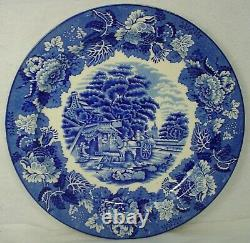 WOOD & SONS china ENGLISH SCENERY Blue pattern Set of 12 Dinner Plates 10-1/8