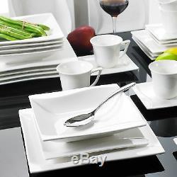 Wave Square Porcelain Crockery Ceramic Stone Dinner Service Cups Plate 30PCS Set