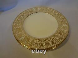Wedgwood Florentine Gold Set of 4 Dinner Plates Pattern #4219